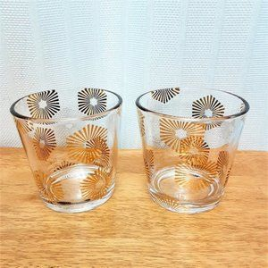 Two Large Gold Burst Design Empty NEST Candle Jars